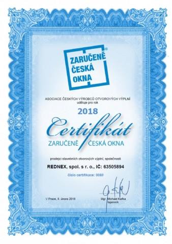 Certifikace Zaručeně česká okna 2018